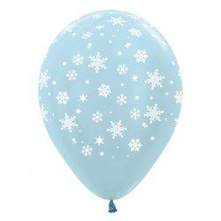 Ballon Satin Pearl Blue Sneeuwvlokjes