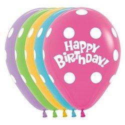 Ballon Polkadot Happy Birthday 12 Inch