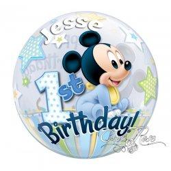Bubble Helium Ballon Mickey 1 Jaar met Tekst
