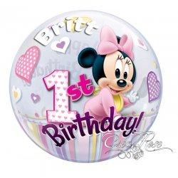 Bubble Helium Ballon Minnie 1 Jaar met Tekst