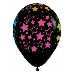 Ballon Zwart met Neon Sterren