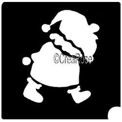 Glittertattoo Sjabloon Wandelende Kerstman