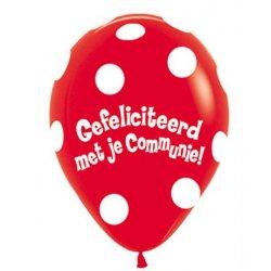 Sempertex Latex Ballon Gefeliciteerd met je Communie in de kleur rood