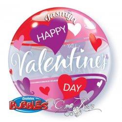 Geef een Bubble Ballon Met naam van je geliefde voor Valentijn met roze en witte hartjes