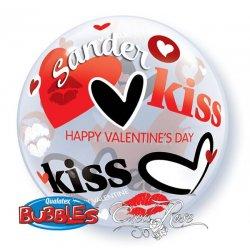 Bubble ballon met helium voor Valentijn Kisses & Hearts, met een tekst verstuurd per post,