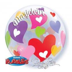 Bubble helium ballon Kleurrijke harten met tekst verstuurt via de post