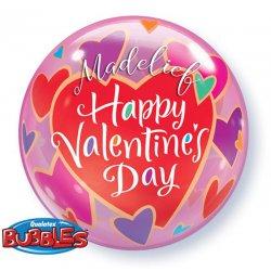 Bubbel Ballon voor je liefste voor Valentijn Colourful Hearts met tekst