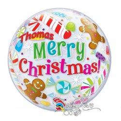 Bubble Helium Ballon Merry Christmas Candy Met Tekst Voorbeeld